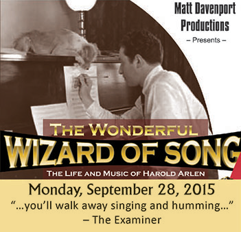 The Wonderful Wizard Of Song Performing On Monday, September 28, 2015