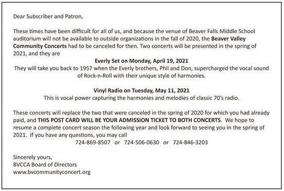 BVCCA Concerts 2021